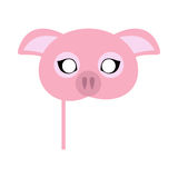 Pink Pig Domestic Animal Carnival Mask. Vector. Pig carnival mask vector illustration in flat style. Pink pig domestic animal face. Funny childish masquerade Royalty Free Stock Photo