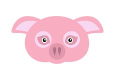 Pink Pig Domestic Animal Carnival Mask. Vector. Pig carnival mask vector illustration in flat style. Pink pig domestic animal face. Funny childish masquerade Royalty Free Stock Photos