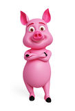 Pink pig with folding hand. 3d Pink pig with folding hand Stock Photo