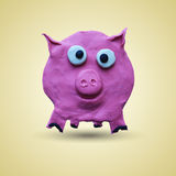 Pink pig in front view. Vector illustration. Plasticine modeling Stock Images