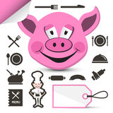 Pink Pig Head - Chef and Restaurant Menu Icons Set Stock Image