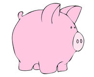 Pink pig illustration. Cartoon of a pink pig on white background stock illustration