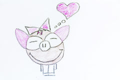 Pink pig  in love  -illustration Royalty Free Stock Images