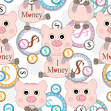 Pink Pig Love Money Seamless Pattern_eps. Illustration of cartoon pink pig love money and saving it seamless pattern on white background Stock Images