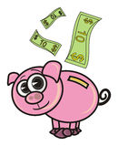 Pink pig money box Royalty Free Stock Images