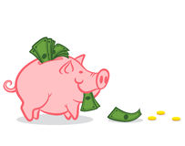 Pink pig and money Royalty Free Stock Photos