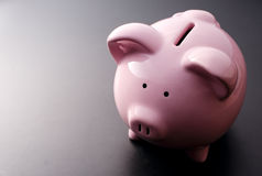 Pink pig moneybox closeup Stock Photo