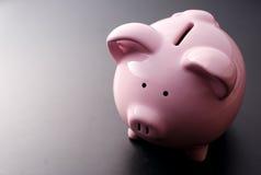 Pink pig moneybox closeup Stock Photo
