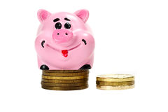 Pink pig moneybox and money. Over white Stock Photo