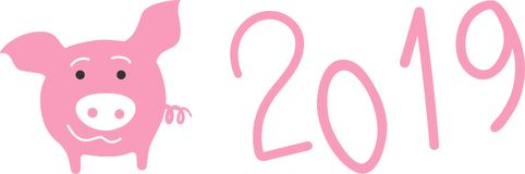 Pink pig and 2019 numbers, new year vector elements. Pink pig and hand written 2019 numbers, new year vector elements vector illustration