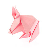 Pink pig of origami Stock Photography
