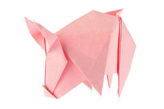 Pink pig of origami. Royalty Free Stock Photos