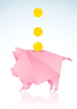 Pink pig with a paper coin. Origami pigs from pink paper and coins Royalty Free Stock Photo