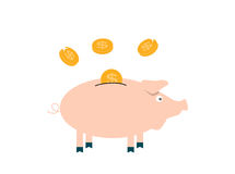 Pink Pig piggy bank with falling coins - Contribution to the Fut Stock Image