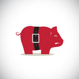 Pink pig piggy bank with tight belt Stock Photography
