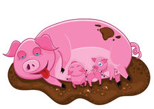 Pink pig with piglets. Royalty Free Stock Photography