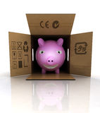 Pink pig and pork meat transportation concept Royalty Free Stock Photos
