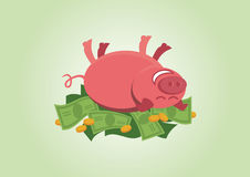Pink pig rolling in money Royalty Free Stock Photos