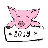Pink pig with a sign royalty free illustration