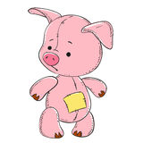 Pink pig soft toy. Vector Royalty Free Stock Photos