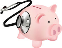 Pink pig with stethoscope Stock Images