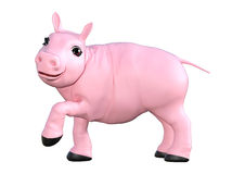 Pink Pig on White Stock Photo