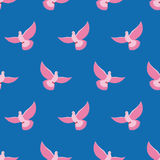 Pink Pigeon Seamless pattern. Pink bird is flying in blue sky ba Stock Photo