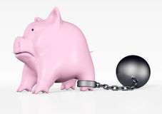 Pink piggy with ball and chain Royalty Free Stock Photos