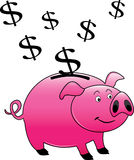 A pink piggy bank royalty free illustration
