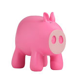 Pink piggy bank. Pink classic piggy bank isolated on white background stock photos