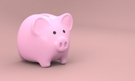 Pink Piggy Bank 3D Render 001. 3D rendered image of pink piggy bank made of porcelain stock illustration