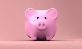 Pink Piggy Bank 3D Render 002. 3D rendered image of pink piggy bank made of porcelain stock illustration