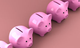 Pink Piggy Bank 3D Render 003. 3D rendered image of pink piggy bank made of porcelain stock illustration
