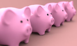 Pink Piggy Bank 3D Render 004. 3D rendered image of pink piggy bank made of porcelain stock illustration