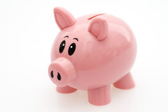 Pink Piggy Bank. Traditional Plastic Pink Cute Piggy Bank Stock Photography