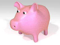 Pink piggy bank. Against white background royalty free illustration