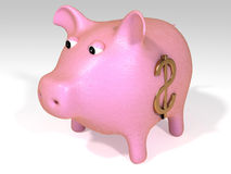 Pink piggy bank. A pink piggy bank with a gold dollar sign vector illustration