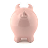 Pink piggy bank - back view. Pink piggy bank isolated on white background Royalty Free Stock Photography