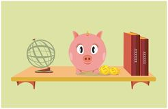 Pink piggy bank on a bookshelf stock illustration