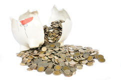Pink piggy bank broken with money Royalty Free Stock Photo