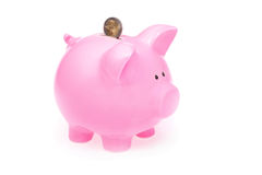 Pink Piggy Bank and Coin. At the White Background Royalty Free Stock Images