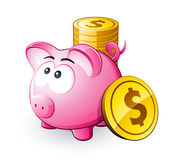 Pink piggy bank with coins Royalty Free Stock Image