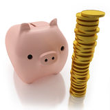 Pink piggy bank with coins. Business concept Stock Photo