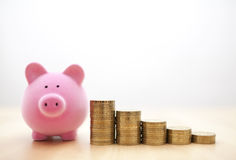 Pink piggy bank and coins Stock Photography