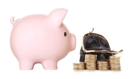 Pink piggy bank Stock Photo