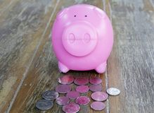 Pink Piggy bank and coins. On wooden floor Royalty Free Stock Photography