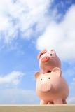 Pink piggy bank couple Royalty Free Stock Photos