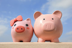 Pink piggy bank couple Stock Photo