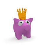 Pink piggy bank with a crown. Cute pink piggy bank with a golden crown on a white background, 3d rendering Royalty Free Stock Image