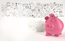 Pink piggy bank 3d Royalty Free Stock Photos